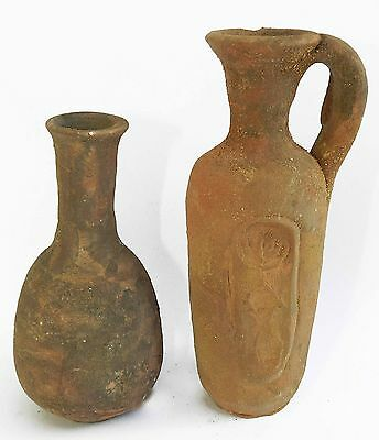 2 Biblical Ancient Antique Jugs Holy Land Roman Herodian Clay Pottery w Menorah