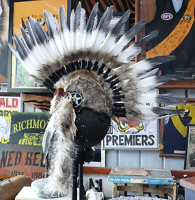 Quality Native American Indian Mohawk Chief Feather war bonnet Headdress 1 size