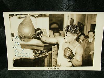 Signed Autographed Boxing Photograph Postcard Tommy Martin Black Boxer - Lot 23