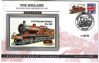 BRITAIN GREAT RAILWAYS 2009 *M.R. 4-4-0 EXPRESS ENGINE No 999* official cover
