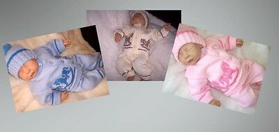 KNITTED HORSE PRAM SUIT REBORN 20in BABY 0 - 3 MNTHS