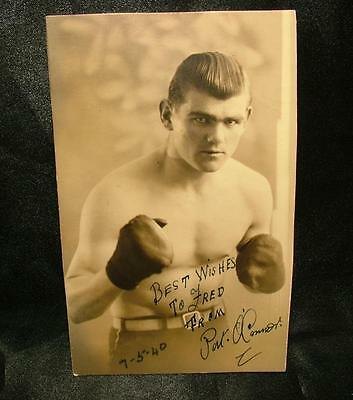 Genuine Signed Autographed Boxing Photograph Pat Connor 1940 Welterweight Lot 60