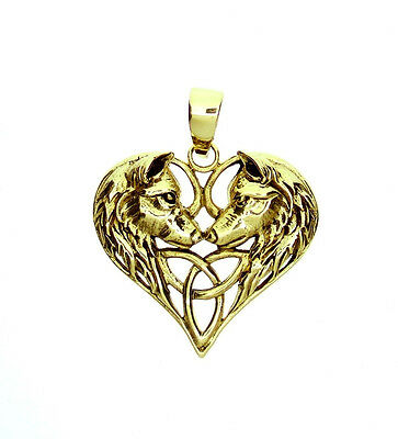 Bronze Wolf Wolves Celtic Triskel Heart Pendant~Lisa Parker~Pagan Jewellery~Love