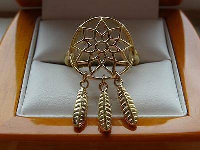 925 Silver / Gold Overlay Womens Large Dream Catcher Charm Ring - New Size T