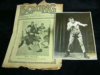 Genuine Signed Autographed Boxing Photograph Dave Crowley 1938 - L77
