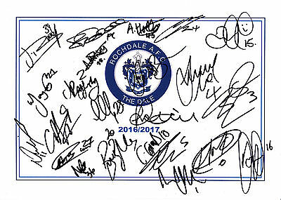 Rochdale Afc, 2016/17 Superb Signed A4 Card Sheet By (23) In Total,