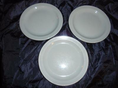 3 x VINTAGE BRITISH RAIL GREEN DINING CAR SMALL PLATES BY DUDSON BROTHERS LTD.