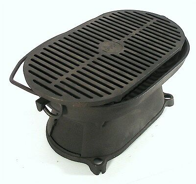 Vintage Columbus Cast Iron Free Standing Hibachi Portable Camping Grill Grate