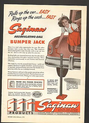 1950 Print Advertisement AD SSG Saginaw Recirculating Ball Bumper Jack