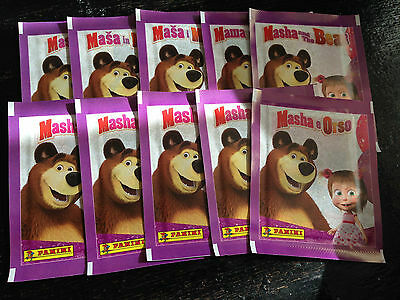 10 Packets Packs of Masha and the Bear Stickers Panini Party Bag Filler