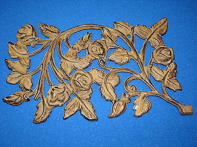 Old Rose Iron Vintage Floral Pediment Flowers Ivy Decor Outdoor Wall Fixture Bud