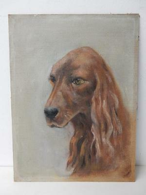 VINTAGE really old PAINTING of a dog