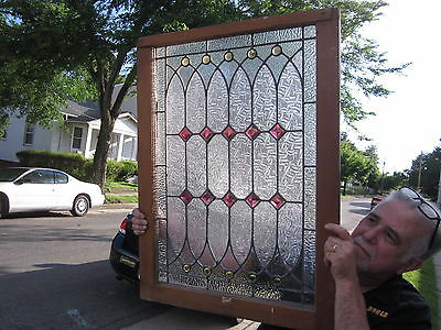 c.1920 Antique Stained Glass Window, perfect for a bathroom, original frame