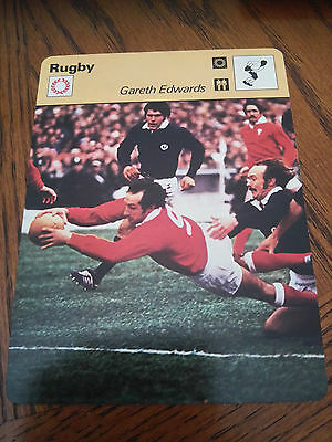 RUGBY UNION - GARETH EDWARDS / WALES / LIONS - Sportscaster Photo Fact Card