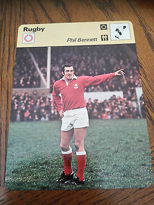 RUGBY UNION - PHIL BENNETT / WALES / LIONS - Sportscaster Photo Fact Card
