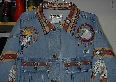 Eagle/eagle Feather Jean Jacket (Embroidered) Native American Looking