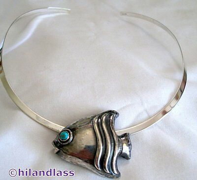 Matl Matilde Poulat Vtg Mexico Mexican Sterling Silver Fish Pendant Necklace