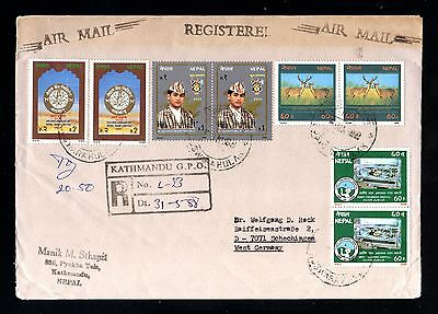 14084-NEPAL-AIRMAIL registered COVER KATHMANDU to SCHECHINGEN (germany) 1988.