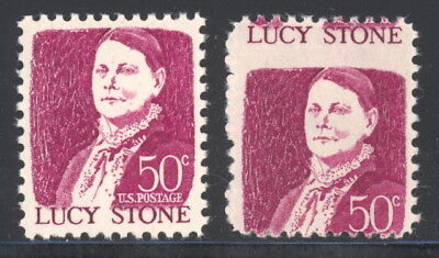 US 1293 normal & misperfed stamps - mnh 50 cents Lucy Stone EFO