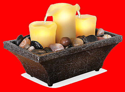 DUAL SPOUT Flameless LED 3 Candle Water Fountain Meditation with River Rocks