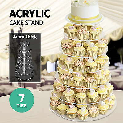 7 Tiers Acrylic Dessert Cake Cupcake Stand Display Round Plate Wedding Party