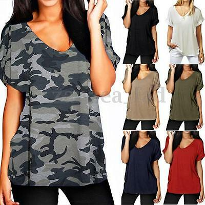Plus Size 8-26 Women Turn up Sexy V Neck Casual Loose T Shirt Baggy Tops Blouse