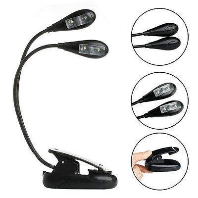 Dual Flexible Arms 4 LED Clip-on Lamp for Piano Stand Book Reading Light Novelty