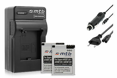 Chargeur + 2x Batteries AHDBT-301 pour GoPro Hero3 Black, White & Silver Edition