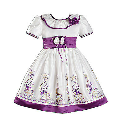 New Flower Girl Party Bridesmaid Dress in Purple Hot Pink Blue 9 12 18 24 2-3