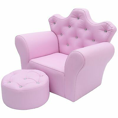 HOMCOM Faux Leather Kids Crown Sofa W/ Footstool Toddler Armrest Chair Pink
