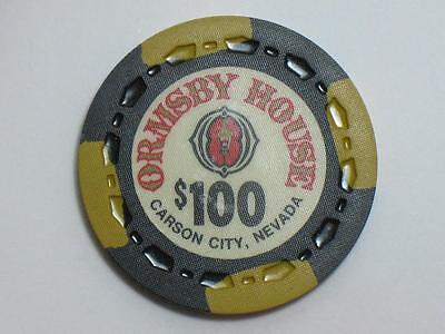 ORMSBY HOUSE CARSON CITY NEVADA 1970s - $100 CASINO GAMING CHIP