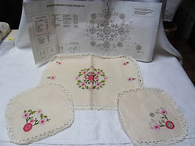 Vintage Linen Semco Embroidery Kit 3 Pc Dressing Table Set To Complete