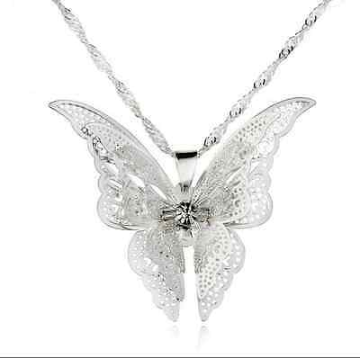 Women Fashion Silver Plated Openwork Butterfly Necklace Pendant Jewelry Gift
