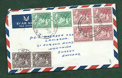 New Zealand 1956 health set on postally used cover