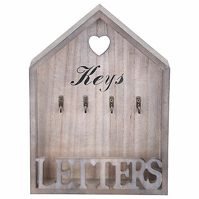 Vintage Natural Letter Rack &4 Key Holder Hooks Storage Shabby Chic Wall Mounted