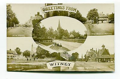 Witney, Oxfordshire - old multiview postcard - High Street, Market Square etc