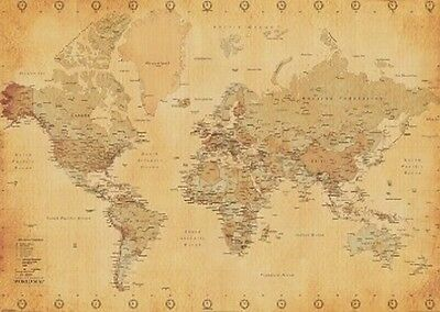 "MAP OF WORLD POSTER ""vintage"" BRAND NEW ""SIZE 61 cm X 91.5 cm"""