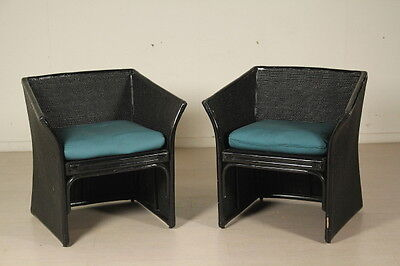 Pair of Rattan Armchairs Vintage Manufactured in Italy 1960s-1970s