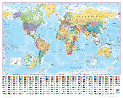 "MAP OF WORLD MINI POSTER ""WITH COUNTRY FLAGS"" BRAND NEW ""SIZE 40 cm X 50 cm"""