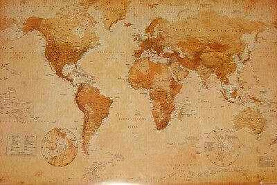 Map of World Giant Poster VINTAGE Size 100 cm X 140 cm BRAND NEW
