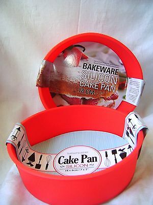 NEW SILICONE SET OF 2 18cm ROUND CAKE BAKING MOULDS NON STICK RED