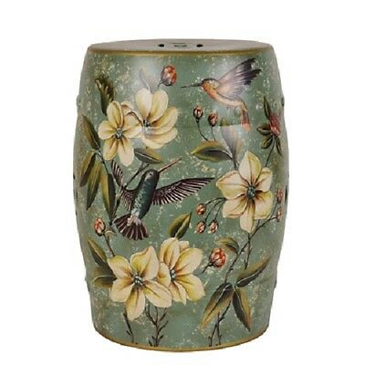 Beautiful Porcelain Oriental Turquoise Green Humming Birds Stool Chinese MA