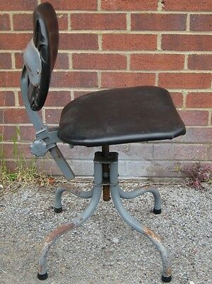 1950s vintage Tan Sad industrial machinist's adjustable swivel office desk chair