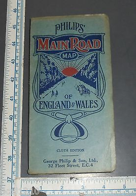 Vintage Philips Main Road Map of England & Wales Cloth Edition