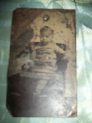 Antique Tin Type Image of Little Girl - Poor Condition