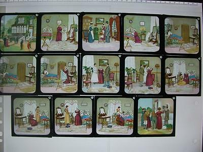 14 Coloured Magic Lantern Slides from set - The Changeling?