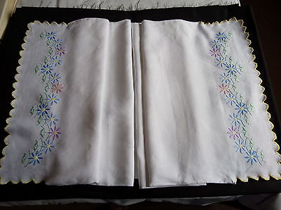 Victorian.Edwardian.Bolster Case in White Cotton.70 ins x 19 ins. Embroidered