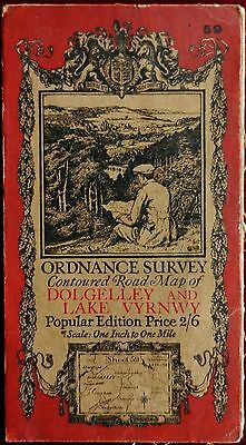 OS 1921 CONTOURED CLOTH MAP of DOLGELLEY& LAKE VYRNWY  No 59 ONE INCH Price 2/6