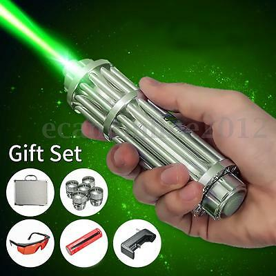 Green Laser Pointer Pen Adjustable Beam Glasses+18650+Charger+5 Cap 650nm 5mW