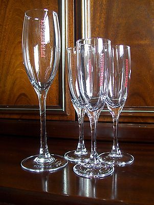 4 Piper Heidsieck Champagne Flutes, Glasses. Unused.